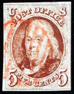 US STAMP #1 1847 5¢ B. Franklin, red brown, imperf USED SOUND