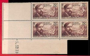 94868a - FRANCE - STAMPS -  Yvert #  437 - CORNER block of 4  COIN DATEE - MUSIC