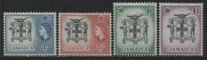 Jamaica QEII1956 high values 3/ to £1 mint o.g.