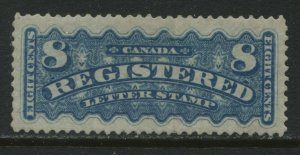 Canada 1876 8 cents blue Registration stamp mint o.h. hinged and VF