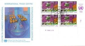 UN Geneva FDC #182 Trade Center Inscription Block (15127)