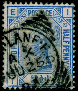 SG157, 2½d blue PLATE 23, USED, CDS. Cat £32. IE
