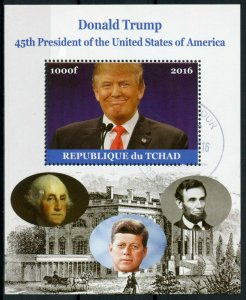 Chad Donald Trump Stamps 2016 CTO 45th US Presidents JFK Kennedy Lincoln 1v M/S