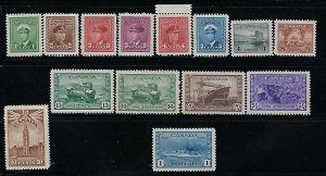 CANADA SCOTT #249-262 1942-43 GEORGE VI DEFINITIVES/PICTORIALS- MINT NH/LH