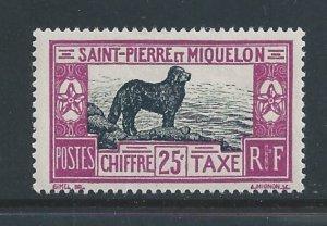 St. Pierre & Miquelon #J24 MH 25c Newfoundland Dog Postage Due