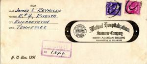 USA Prexie Prexy  25c + 3c used on Registered Ad cover 1945