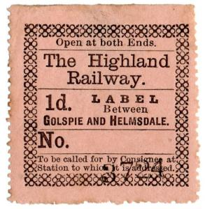 (I.B) The Highland Railway : Newspaper Parcel 1d (Golspie & Helmsdale)