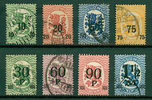Finland 1919/21 Lion surcharge issues (8v) Mint and VFU Stamps