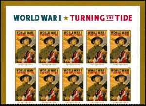 US 5300 World War I Turning the Tide forever header block 10 MNH 2018