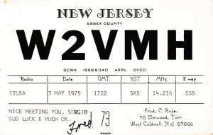 7053 Amateur Radio QSL Card  NEW JERSEY USA