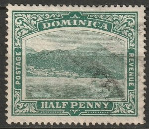 Dominica 1907 Sc 35 used chalky paper crease