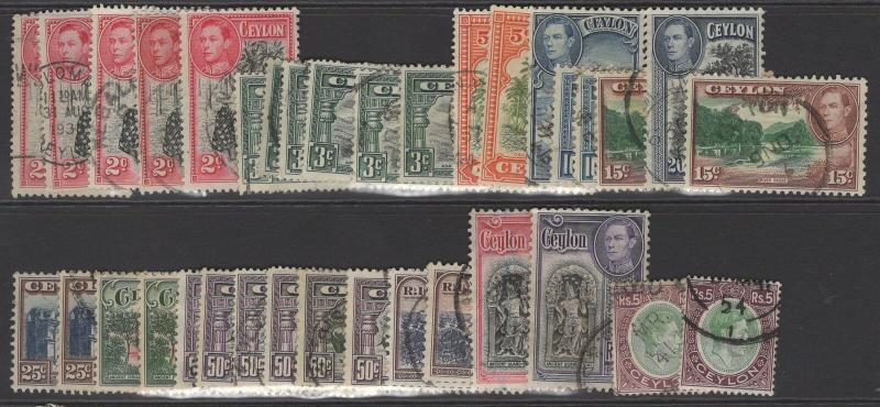 CEYLON SG386/97a 1938-49 DEFINITIVE SET COMPLETE USED