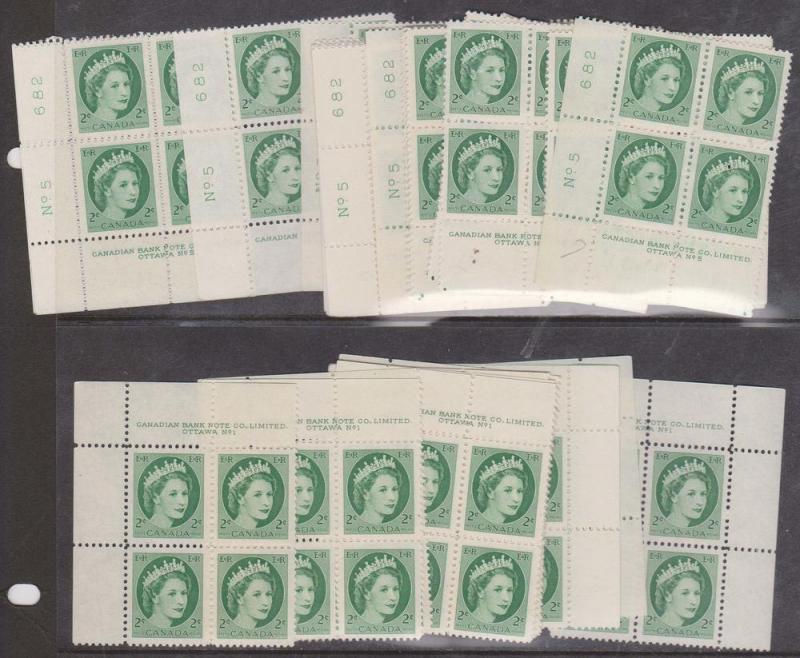 Canada - 1954 2c QE Wilding Plate Blocks mint #338