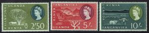 KENYA UGANDA & TANGANYIKA 1960 QEII PICTORIAL 2/-50 5/- AND 10/- MNH **