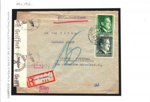POLAND WW2 Cover 1943 Germany Censor *Registered*UNDERCOVER ADDRESS Lisbon MC186