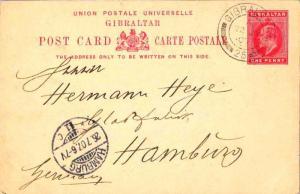 Gibraltar 1d KEVII Postal Card 1907 Gibraltar, 25 to Hamburg, Germany.