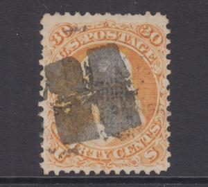 US Sc 100 used 1868 30c Franklin w/ F Grill, H Fancy Cancel, Cert