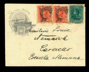 VENEZUELA 1900 RESELLADA ovpt.  5c+10c(2) on beautiful Hamburg-Amerika Linie cvr