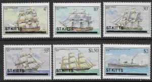 St. Kitts Scott 38-43 MNH Ships Set of 1980, not issued without Overprint