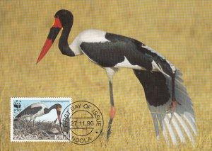 Zambia 1996 Maxicard Sc #657 900k Saddle-billed stork WWF