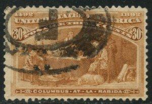 US Sc#239 1893 30c Columbian Fine Centered & Sound Used