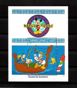 SIERRA LEONE - 1992 - DISNEY - WORLD TOUR - MICKEY - DONALD GONDOLIER + MNH S/S!
