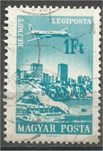 HUNGARY, 1966, used 1fo, Plane over Cities, Scott C264