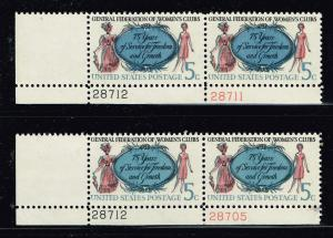 US STAMP # 1316 –1966 5c Women's Clubs COLOR SHIFTED ERROR MNH/OG PL# PAIR X 2