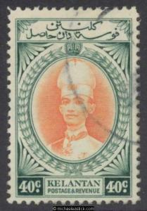 1937 Malaya Kelantan 30c Violet & Scarlet, SG 50 used