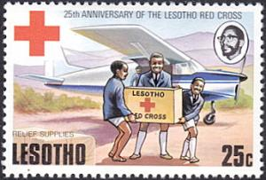 Lesotho # 198 mnh ~ 25¢ Red Cross Supplies Arriving By Airplane
