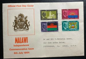 1964 Malawi First Day Airmail Cover To Pittsburgh USA Independence