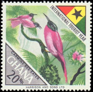 Ghana #315-318, Complete Set(4), 1967, Birds, Animals, Butterflies, Flowers, ...