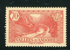 FRENCH ANDORRA; 1932 early Pictorial issue fine Mint hinged 70c. value