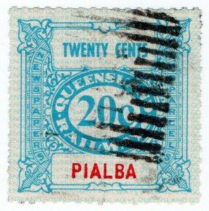 (I.B) Australia - Queensland Railways : Parcel Stamp 20c (Pialba)