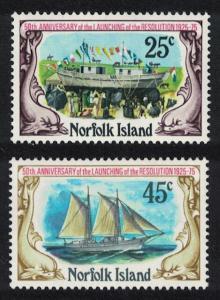 Norfolk Schooner Resolution 2v SG#170-171 SC#192-193