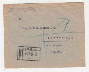 LATVIA, 1938 Registered cover, 5s., 20s., 50s., Liepaja to GB.