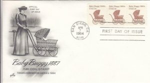 1984, 7.4 Coil Stamp, Baby Buggy, Strip/3, Artcraft, FDC (D13087)
