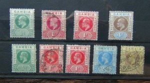 Gambia Edward VII values to 4d King George V values to 3d MM or Used