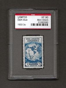 US#733 1933 3c Byrd Antarctic Expedition * PSE XF 90 Mint OGnh - 01082080