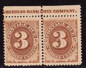 $US SC#J3 M/VLH/F+, pair w/imprint, gum skips, CV. $200