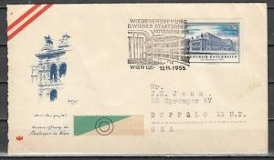 Austria, 12/NOV/55 cancel. Opera house cancel with Opera stamp on Cover.