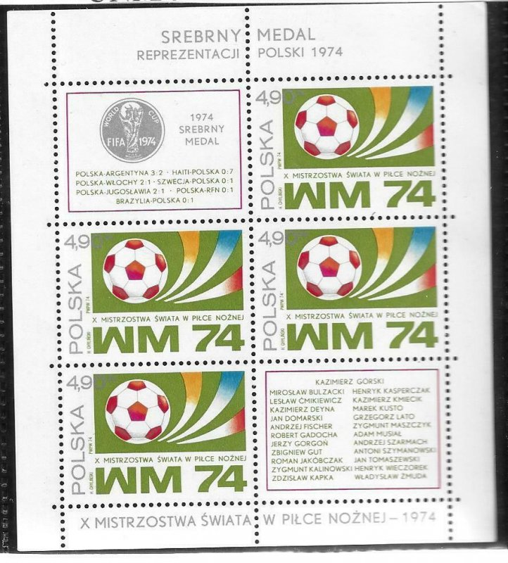 1974   POLAND  -  SG.  MS 2315  -  FOOTBALL WORLD CUP   -  MNH