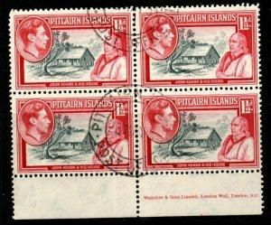 PITCAIRN ISLANDS SG3 1940 1½d GREY & CARMINE BLOCK OF 4 FINE USED