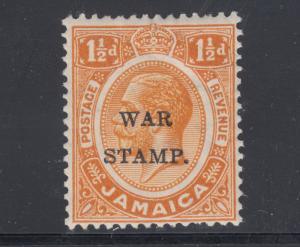 Jamaica Sc MR5 MNH. 1916 1½p orange KGV, Large S in STAMP overprint variety