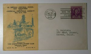 Annual Central Penna Get Together APS Johnson PA 1953 Philatelic Expo Cachet