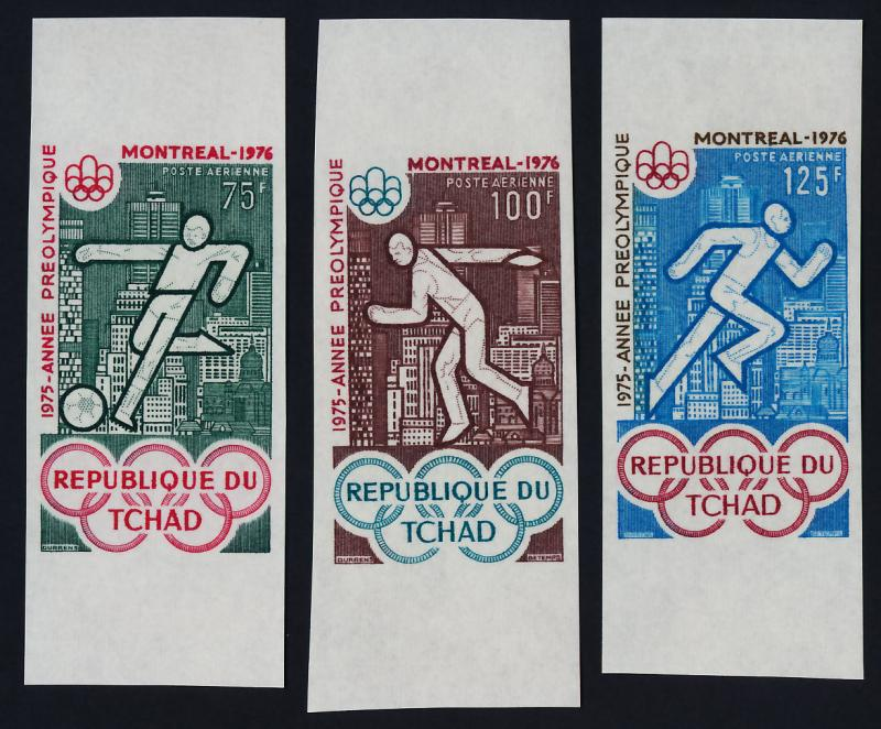 Chad C168-70 imperf MNH Olympic Sports, Soccer, Athletics