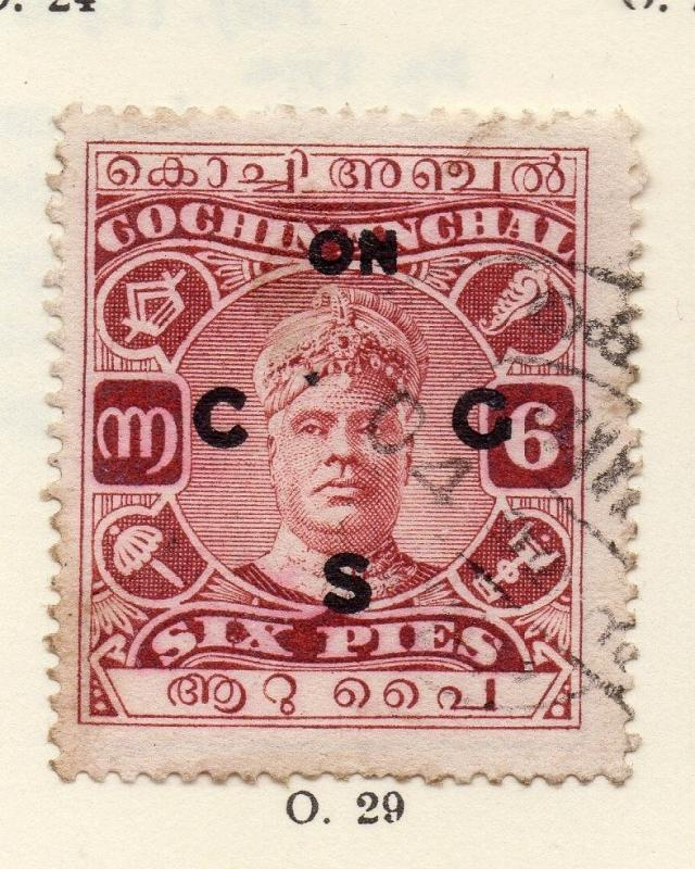 Cochin 1919-33 Early Issue Fine Used 6p. Optd 268175