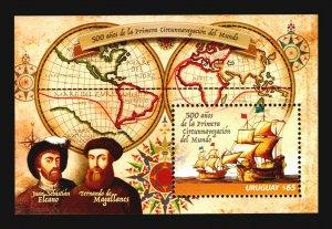 Uruguay Magellan Elcano world map globe cartography ship vessel navigator MNH