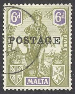 Malta Sc# 124 Used 1926 6p Overprint