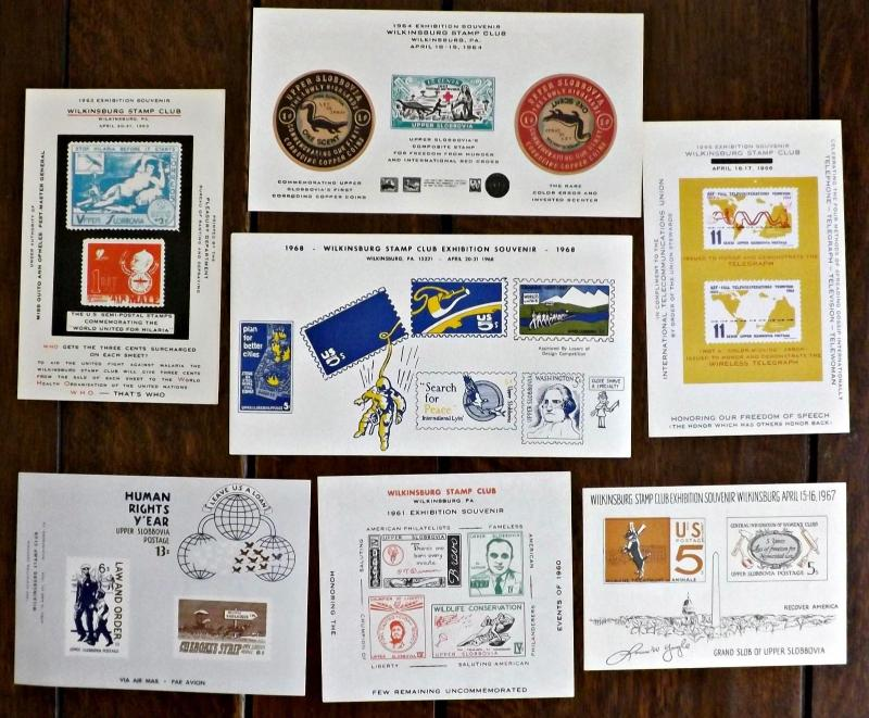 1960s Wilkinsburg, PA. Stamp Club Exhibition Souvenir Sheets - 7 Issues -